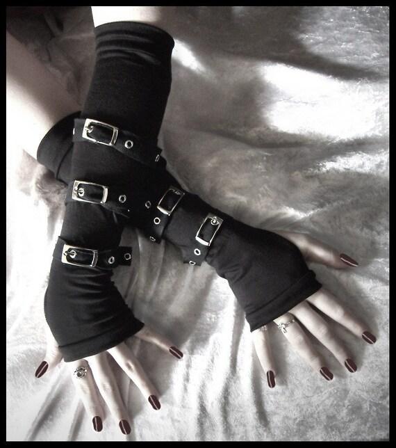 Contorted Angel Arm Warmers - Gothic Unisex Buckled Bondage - Black w/ Silver Metal Buckles - Rivet Head Visual Men Punk Dark Vampire Lolita
