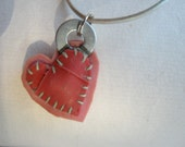 pink and red patchwork heart charm