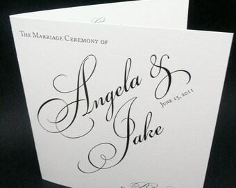 Wedding Booklets, Programs, Black and White Wedding Booklets, Classic Program, Pretty Script, Once Charmed Program Sample