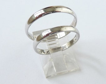 White gold wedding band set womens wedding ring men's wedding band classic ring 3mm wide