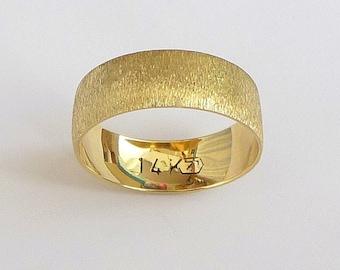 Gold wedding band men's wedding ring  with deep sandblast finish 6mm wide 14k gold