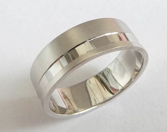 White gold wedding band men wedding ring 14k gold ring with sandblast finish and off centered stripe