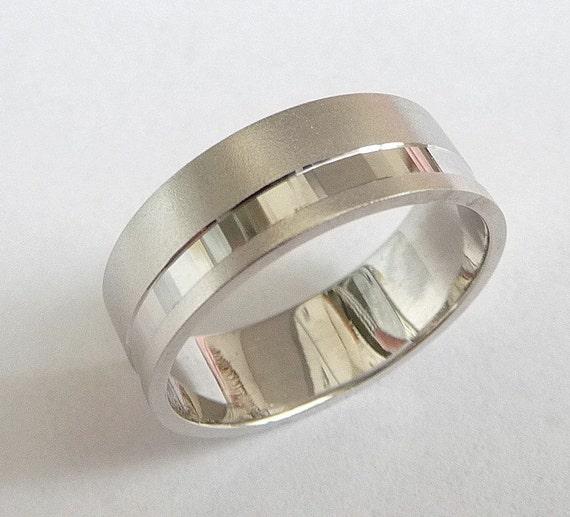 White gold wedding band men wedding ring 14k gold ring with sandblast finish and off centered stripe