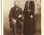 CABINET CARD, Couple, Victorian Dress, Bogge Photographer, Cambridge, Minn.