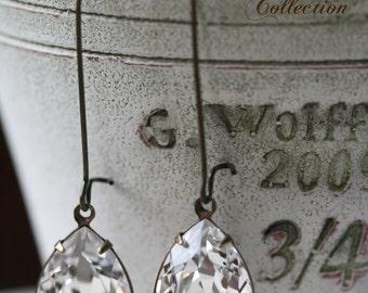 Tear Drop Swarovski Crystal Earrings, Crystal Earrings, Estate Style Earrings, Tear Drop Earrings, Bridal Earrings