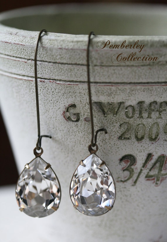 Tear Drop Swarovski Crystal Earrings, Crystal Earrings, Estate Style Earrings, Tear Drop Earrings, Bridal Earrings