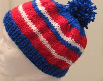 READY TO SHIP : Boys, beanie styled hat, hand knitted, red, white and blue, with a pompom