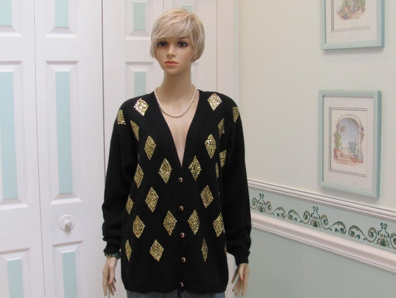 READY TO SHIP: Black Cardigan Sweater, Vintage 80s,  v-neck, with 5 gold and black buttons, gold, sequins and beaded appliques