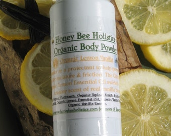 Organic Lemon Vanilla Body Powder - No talc used - 4 oz. bottle with twist no spill top