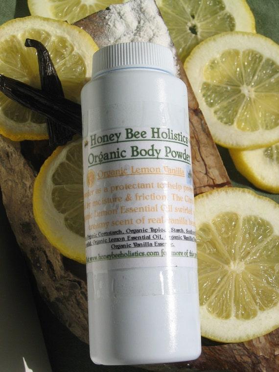Organic Lemon Vanilla Body Powder - No talc used - 4 oz. bottle with twist no spill top