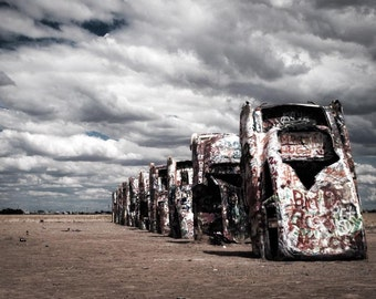 Fine Art Photography, Car Art, Cadillac Ranch, Texas photo, Amarillo, Route 66, Hot Rod, Print, Modern Wall Decor, Gift For Him, Man Cave