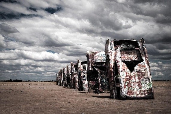 Fine Art Photography, Car Art, Cadillac Ranch, Texas photo, Amarillo, Old Cars, Hot Rod, Print, Modern Wall Decor, Gift For Him, Man Cave
