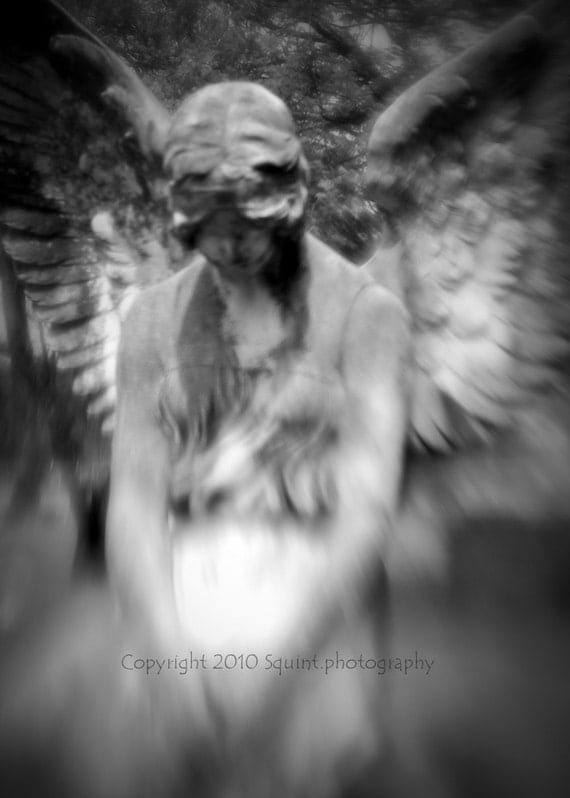 Black and White Photo - Gothic Romance - Tombstone - Angel - Cemetery Art - 5 x 7 Print - Fine Art Photography - Religious Art - Angel Wings