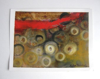 red  gold Original oil on paper painting,  one of a kind
