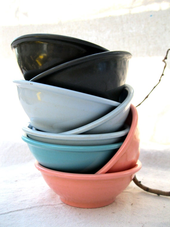 Vintage Retro-Melamine Bowls-8 Colorful-Boonton-USA Made from Tessiemay