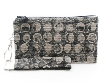 Phases of the moon black and gray clutch - womens small purse - recycled fabric evening bag with strap
