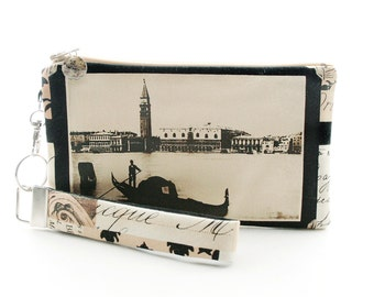 Gift for travel lovers: Italian gondola fabric bag is a romantic small purse with vintage style featuring Venice Italy