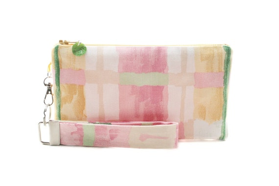 Pastel clutch - spring bag for women - pink small purse handmade in pastel plaid fabric - pouch & key fob gift set - zipper wristlet