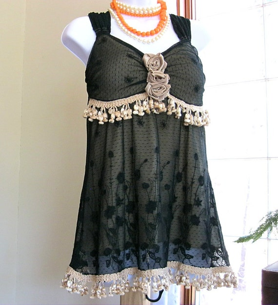 JUST FOR STEPHANIE Upcycled black lace bustier style top Bohemian top Black boho gypsy tunic Sleeveless top Women's Small Medium Sm Med