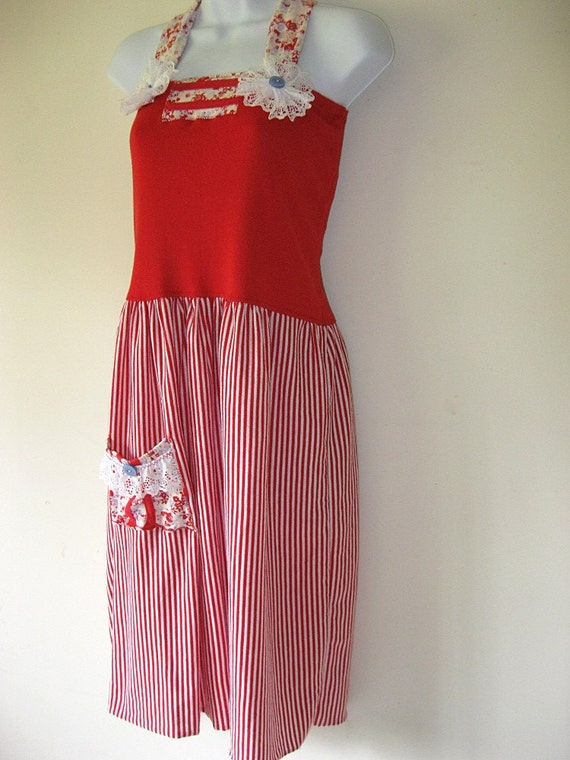 RESERVED for Jennifer -Red and white striped halter dress, drop waist, upcycled women's clothing, eco chic, summer party dress, beach, Small
