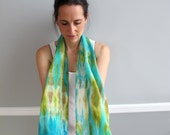 Long Scarf Shibori dyed 100% Silk Aqua Sea