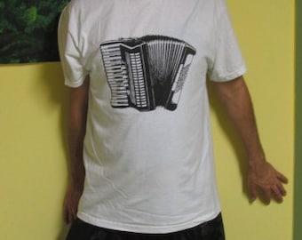 Accordion Shirt - Black Ink on Small off white natural color - tshirt, music, screenprint, accordian, steampunk, punk silkscreen, keyboard