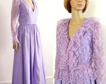 Vintage 1970s Evening Dress Low Neck Lavender Long Dress Lace Peplum Jacket / SM