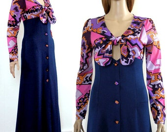 Vintage 1970s Maxi Dress Tie Top Low Neck Button Front Psychedelic Dress / XS to S