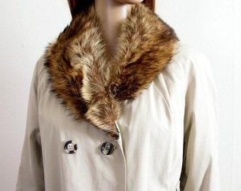 Vintage 1950s Raincoat All Weather Coat Creamy Gray Tan Fur Collar Ccoat / Medium