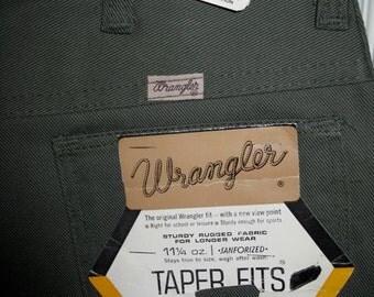 Vintage 1960's Wrangler Peg Leg Tapered Deadstock Olive Green Jeans 28x31