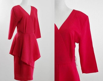 Vintage Red Peplum Dress, 80s Cocktail Dress, 1980s Pepelum Dress, Red Dress, Part Dress, V Neck Dress, Bust 42 Waist 28 Medium