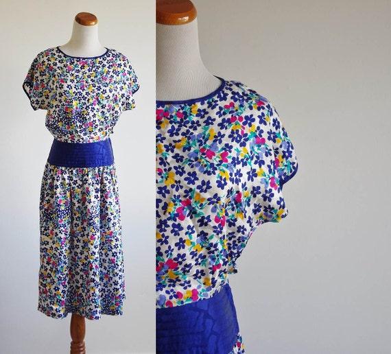 Vintage Silk Dress, 80s Drop Waist Dress, Blue Yellow & Pink Floral Dress, Dolman Sleeve Dress, Cummerbund Waist Dress, Petite Medium