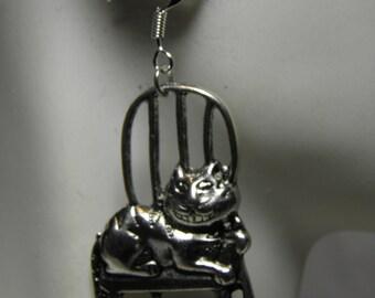 Alice in Wonderland Earrings, Sterling Silver Cheshire Cat Earrings, Steampunk Jewelry, Alice in Wonderland Jewelry, Cat Jewelry