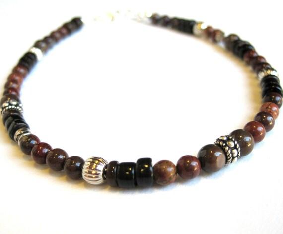 Brown Boho Men's Bracelet, Silver Rondelles, Poppy Jasper, Detailed Silver, Large Bracelet or Small Beaded Anklet, Brown Shell Heishi, SRAJD