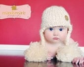 Little Knit Ear Flap Hat with Tassle for Baby, Adorable Photography Prop, Choose Your Color