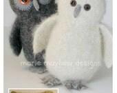 PATTERN-BOOKLET. A Knit & Felt Wool Owl Pattern