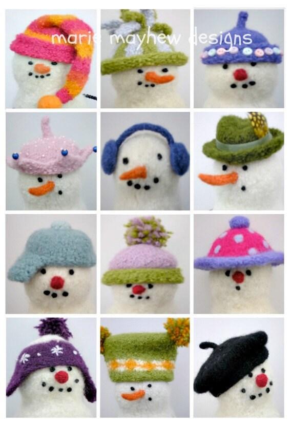 PATTERN-BOOKLET. Snowman Hats. A Knit & Felt Wool Snowman Hats Pattern