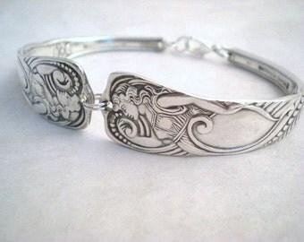SIREN 1891 - Silver Spoon Bracelet Chunky Antique Silverplate Spoon Bracelet - Silverware FREE ENGRAVING