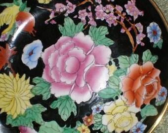 Brass Chrysanthemum Enameled Black Japanese Porcelain Dish - Asian Cased Wall Hanging/Bowl