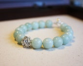 Amazonite and silver rhinestone bracelet B4-S