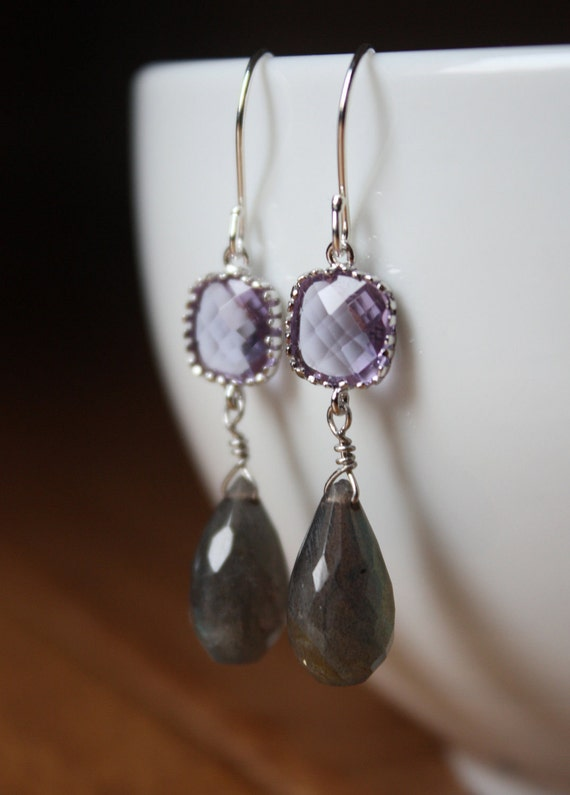 Lilac amethyst square cut glass and grey labradorite silver earrings E83-G