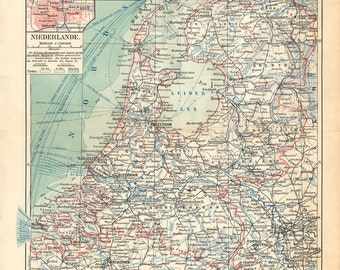 1908 Antique MAP print of  NETHERLANDS, is a constituent country of the Kingdom of the Netherlands, located mainly in North-West Europe