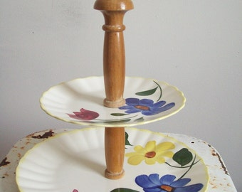 Vintage Blue Ridge Pottery two tier tidbit tray Sun Bouquet colonial shape southern pottery hand painted