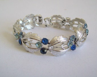 Vintage Coro Pegasus link bracelet silver tone blue rhinestones Free shipping to USA