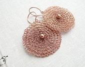 Wire crochet earrings. Copper earrings. Wire crochet jewelry. OOAK jewelry. MADE to ORDER