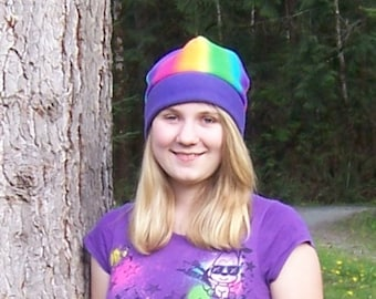Rainbow Fleece Beanie Hat with Purple Band - Gift For Her - Gift For Him - Winter Hat - Rainbow Hat - Birthday Gift - Unique Gift
