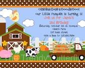 Barnyard Fall Animals Invitation Fall Farm Birthday Party Invite Printable Girls or Boys