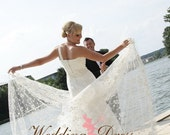 Lace Wedding Dress with One Shoulder Strap Stunning Flowing Chapel Train