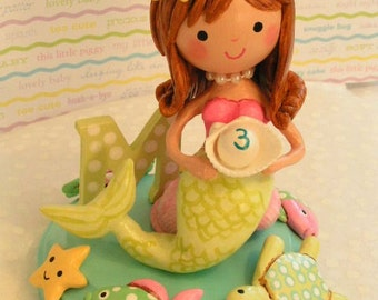Made To Order~ Under the Sea Little Mermaid Cake Topper Keepsake Gift Little Girl Happy Birthday Party~Baby Personalized Custom  Decoration
