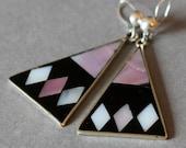 Vintage Black, Mauve and White Triangular Earrings